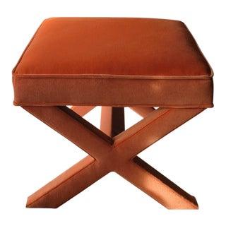 Jonathan Adler Orange Velvet X-Bench Ottoman, Stool For Sale