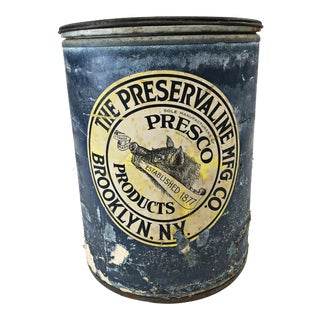 Vintage Industrial Blue Barrel With Brooklyn Ny Labels For Sale