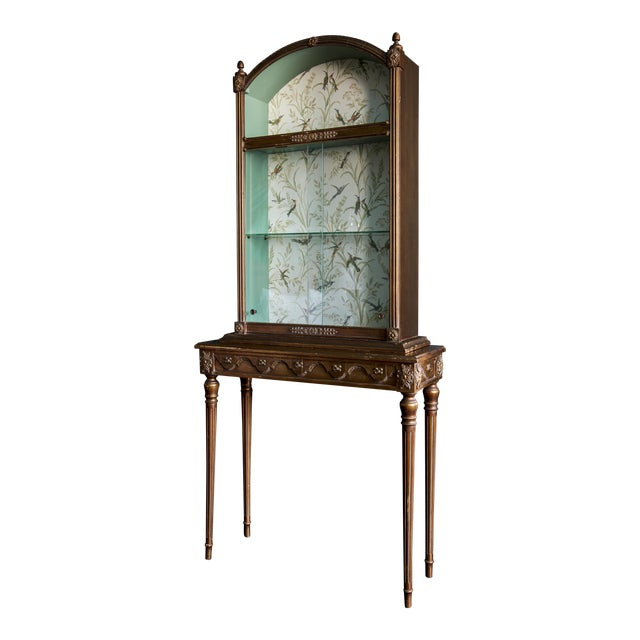 1960s Regency Wallpaper Lined Gold Curio Cabinet For Sale