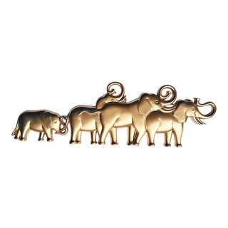 Mid-Century Modern Syroco Gold Herd of Elephants Wall Art For Sale