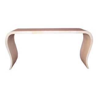 Waterfall Parchment Console Table For Sale