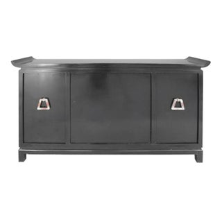 Mid-Century Modern Pagoda Style Black Lacquer Bar Cabinet by James Mont Preview
