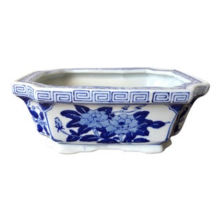 Chinoiserie Blue & White Cachepot-Greek Key For Sale