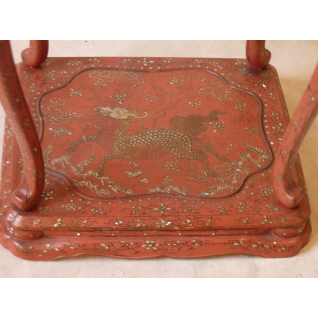 Asian Chinese Laquer Drink Table For Sale - Image 3 of 5
