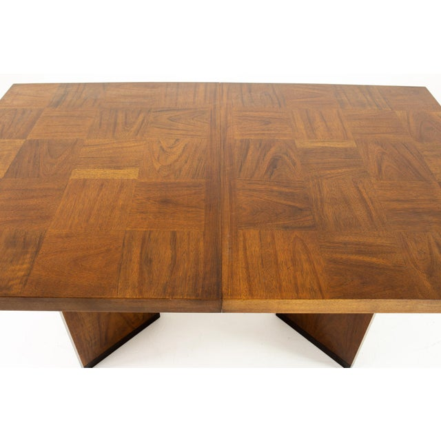 Paul Evans Style Lane Mid Century Brutalist Patchwork Walnut Pedestal 10 Person Dining Table - Set of 3 For Sale In Chicago - Image 6 of 9