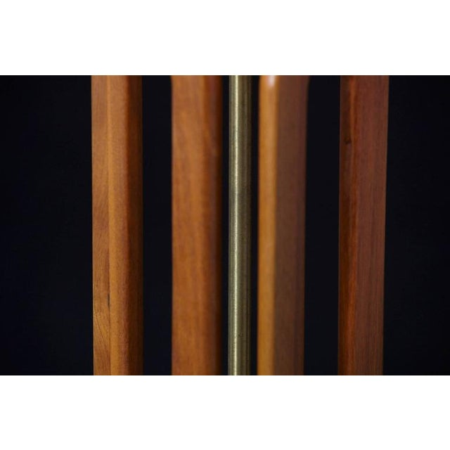 Geometric Teak Table Lamp with Brass Base For Sale - Image 9 of 10