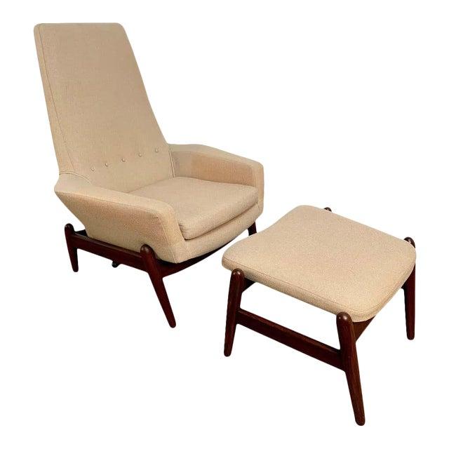 i.b. Kofod-Larsen High Back Lounge Chair Model Pd30 With Ottoman, Circa 1960 For Sale