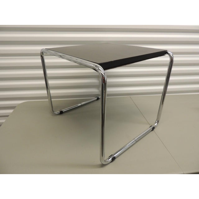 Black and chrome low table in the style of Marcel Breuer, with black formica top. (real good copy) Mid -century modern style