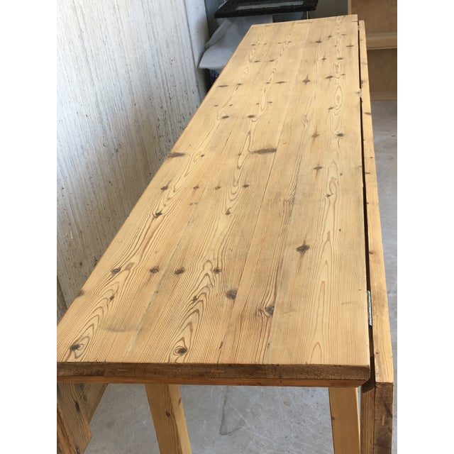20th Century Midcentury Large Pine Drop-Leaf Country Farm Table With Two Leaves For Sale - Image 11 of 12