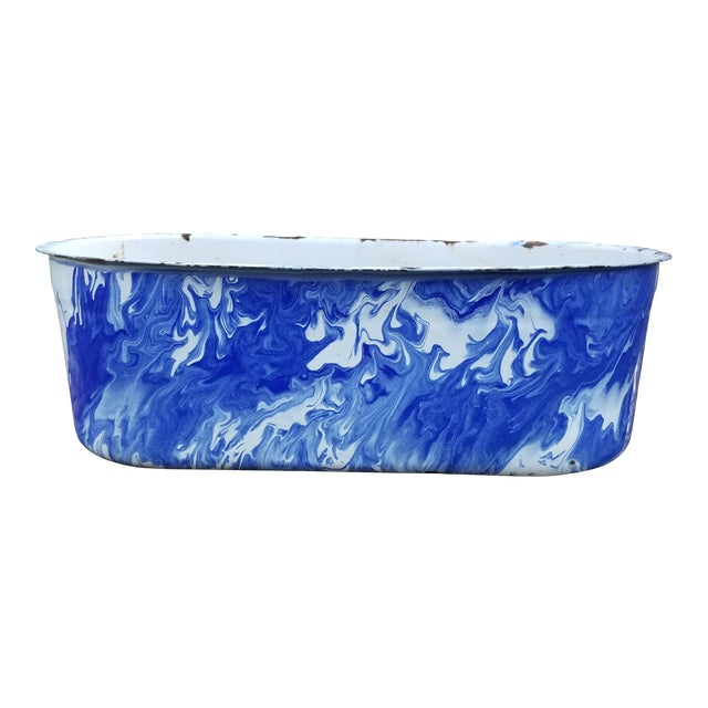Large Blue and White Enamel Ware Sink For Sale