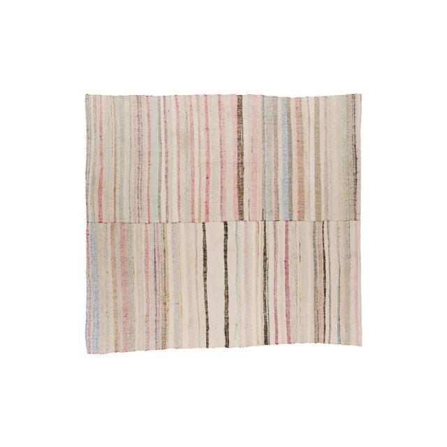 "Vintage Cotton Area Rag Rug - 7'10"" x 8'7"" - Image 1 of 9"