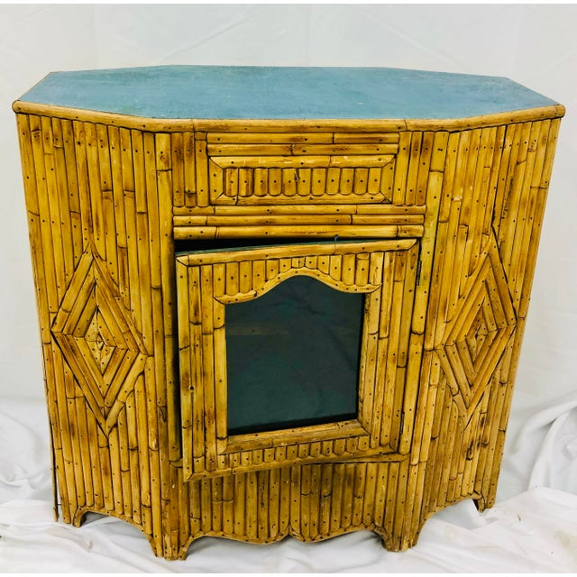 Antique Split Bamboo Curiosity Cabinet Display Case For Sale In Raleigh - Image 6 of 8