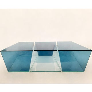 1970s Contemporary Geometric Blue and Clear Glass 3 Piece Coffee Table Preview