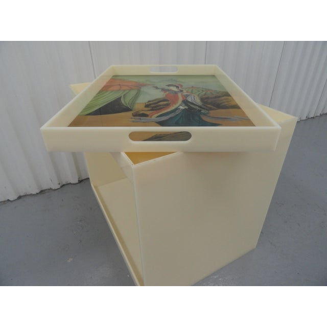 1990s Custom Acrylic Table With Tray Top With Reverse Glass Painted Art For Sale - Image 5 of 8