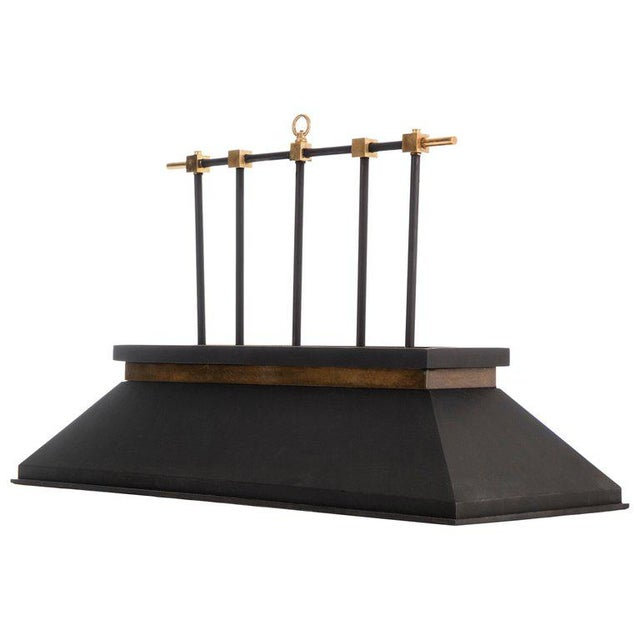 1950s Brass and Matte Black Billiard Lamp For Sale - Image 5 of 5