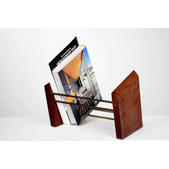 Mahogany and Brass Table Bookend For Sale - Image 4 of 4