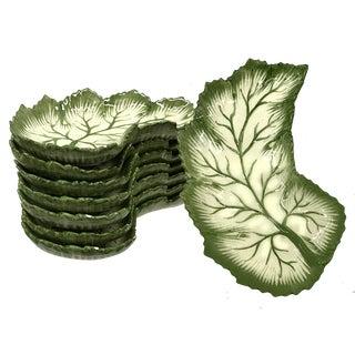Vintage Leaf Plates Made for Bonwit Teller, Made in Portugal - Set of 8 For Sale