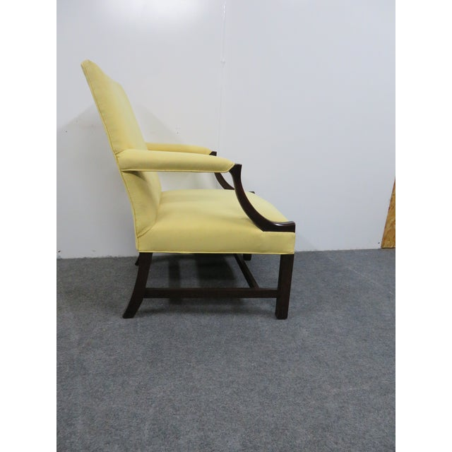1940s 1940s Chippendale Yellow Upholstered Mahogany Library Chair For Sale - Image 5 of 7