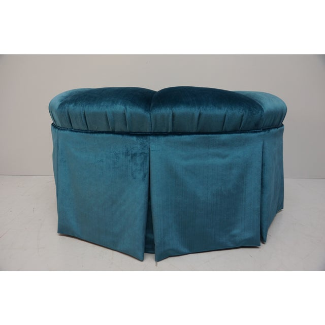 Gorgeous & Glam! This vintage buttoned, tufted, & skirted ottoman has brand new velvet upholstery in a beautiful deep teal...