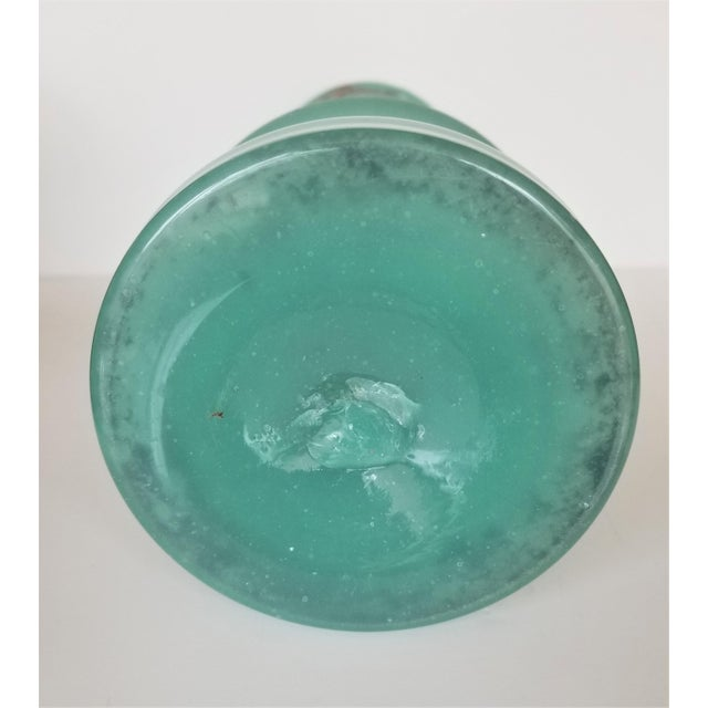 Victorian Hand Painted Blue Green Bristol Frosted Glass Vases - a Pair For Sale - Image 10 of 13