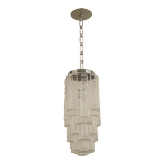 1930s French Art Deco Clear and Molded Geometric Design Glass 3 Tiered Square Shaped Lantern For Sale