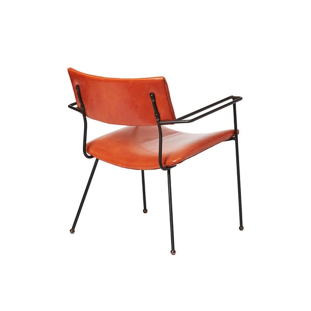 Mid-Century Iron and Leather Side Chair - Image 5 of 6