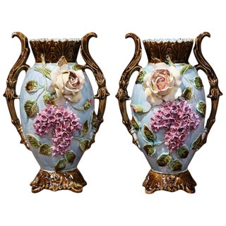 Pair of 19th Century French Painted Ceramic Barbotine Vases With Floral Motifs For Sale