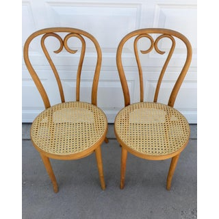 Vintage Mid Century Bentwood and Cane Bistro Chairs- a Pair Preview