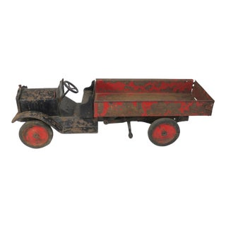 1920s Vintage Steel Dump Truck Toy For Sale