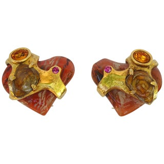 Christian Lacroix Paris Clip on Earrings Baroque Resin Heart With Rhinestones For Sale