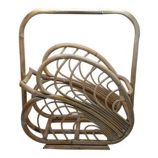 Large Vintage Rattan Basket With Handle For Sale