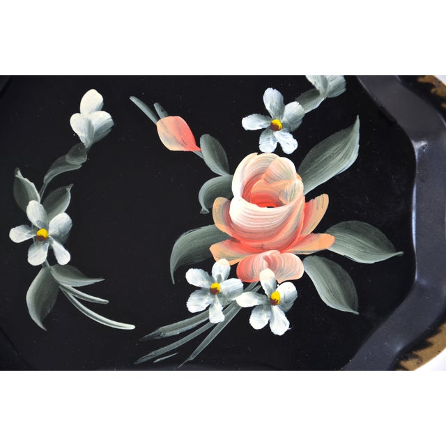Cottage Hand-Painted Tole Trays - Set of 6 For Sale - Image 3 of 5