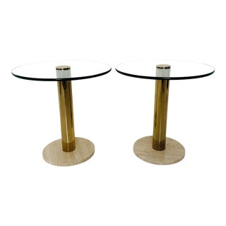 1970s Italian Pace Collection Marble, Brass and Glass Side Tables - a Pair For Sale