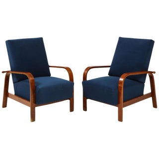 1930s Italian Reclining Armchairs- A Pair For Sale