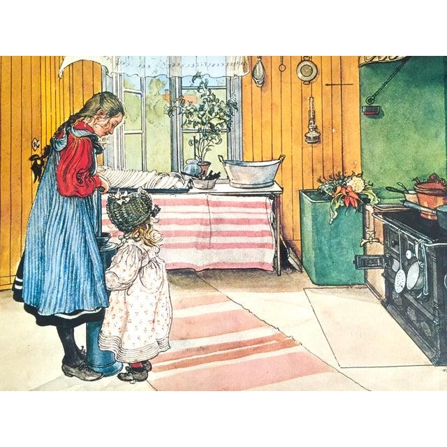 "1970s Carl Larsson Vintage 1972 Original Swedish Lithograph Print Poster "" Koket the Kitchen "" 1898 For Sale - Image 5 of 12"