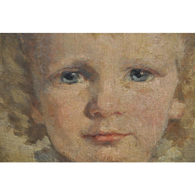 """Canvas 19th Century """"Young Girl in a Pink Dress"""" Portrait Oil Painting For Sale - Image 7 of 9"""