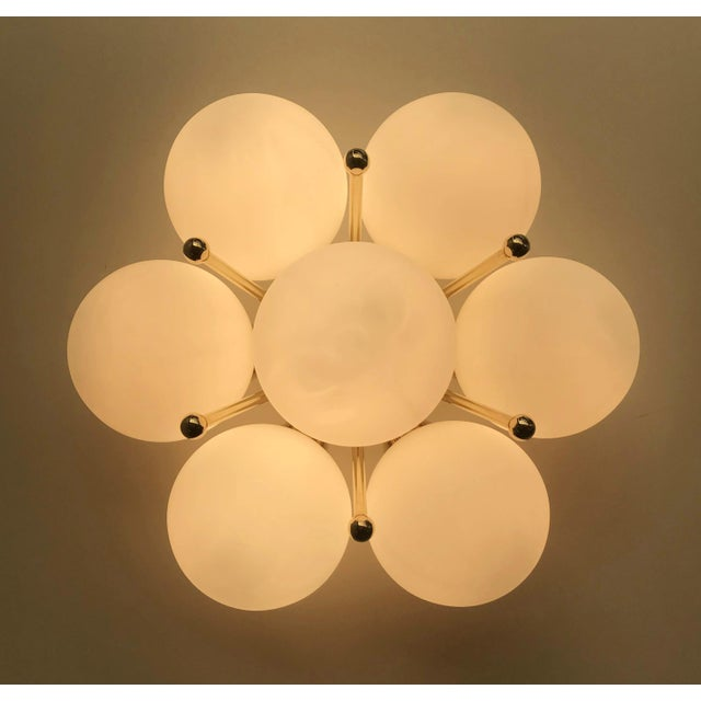 Italian modern flush mount or wall light with 7 matte white Murano glass globes mounted on chic polished brass finish /...