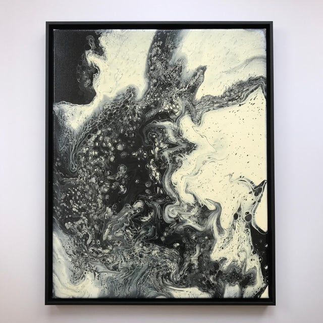 This poured acrylic abstract on canvas by Chicago artist Richard Crawford was purchased directly from the artist and...