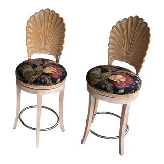 Italian Carved Shellback Stools With Upholstered Seats - Set of 2