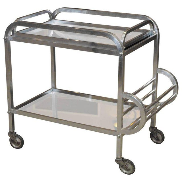 Silver French Art Deco Aluminum Drinks Trolley with Removable Tray-Style of Adnet For Sale - Image 8 of 8