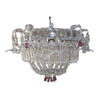 1920 French Flush Mount Beaded Maison Bagues Style Amethyst Drops Chandelier For Sale