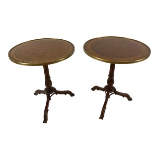 1990s Neoclassical Theodore Alexander Burl & Zebrawood Round Side Tables - a Pair For Sale