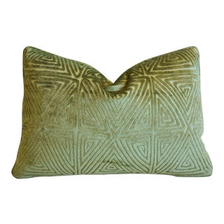 "Rich Green Lee Jofa Diamond Maze Velvet Feather/Down Pillow 20"" X 14"" For Sale"