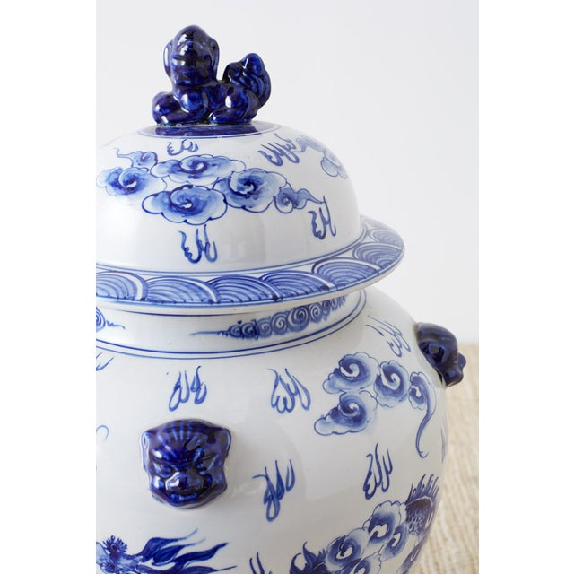 White Oversized Chinese Blue and White Porcelain Ginger Jar For Sale - Image 8 of 13