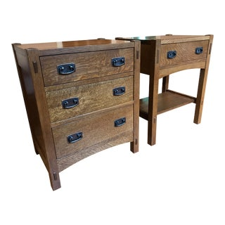 20th Century Mission Stickley Oak Nightstands - a Pair For Sale