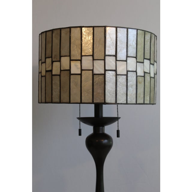 1970s Mid Century Enameled Bronze Base With Geometric Art Deco Mica Shade For Sale - Image 5 of 8