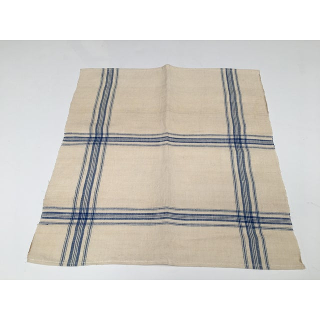 Homespun Flax Linen French Blue Plaid Towels - A Pair - Image 3 of 7