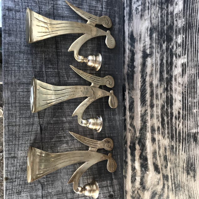 Mid-Century Modern Brass Angels Candlestick Holders - Set of 3 For Sale In Denver - Image 6 of 12