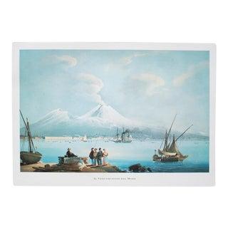 """1964 """"Vesuvius, Ash Eruption Seen From the Sea"""", Original Lithograph For Sale"""