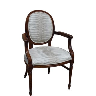 Distressed French White Upholstered Armchair